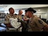 U.S. Marine Drill Instructors Welcome Recruits At San Diego Marine Corps Recruit Depot