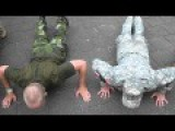 US Army And Swedish Army Having A Pushup Contest In Nijmegen
