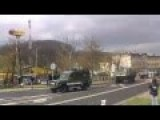 US Army Dragoon Ride Convoy Going Through Eastern Europe