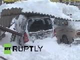 Ukraine: Snow Shelter COLLAPSES On Dozens Of Cars In Odessa