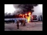 Ukraine Army Transport Bus Catches Fire In Newly Liberated Debaltseve