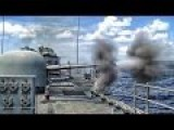 U.S. Navy Deck Guns Shoot Downrange