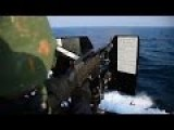 US Sailors Shooting Powerful .50 CAL Machine Gun On The Vast Wide Sea