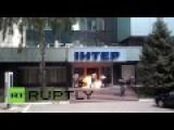Ukraine: Footage Captures Arson Attack On TV Station In Kiev