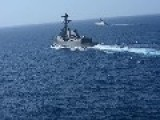 USS Sterett DDG 104 And Chinese Frigate Steaming In Gulf Of Aden