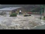 UK Floods: Bus Swept Down Flooded Street In Hebden Bridge