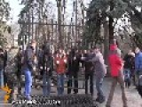 Ukrainian Activists Cut Down Parliament Fence