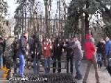 Ukrainian Activists Cut Down Parliament Fence