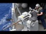 US Marines Firing The Powerfull Mk38 M242 Bushmaster On A Boat