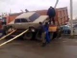 Unloading A Car From A Truck With Russian Style
