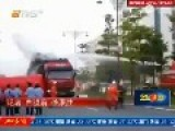 Vietnamese Worker With Knife Shot Down Off Truck By Water Cannon