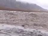 Vulcano In Iceland ,Flash Flood Glacier Landslides