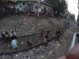 View Of Mumbai Rail-Side Life
