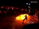 Villagers Runs On Burning Charcoal To Celebrate Chinese New Year