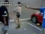 Woman Knocks Down Big Ol' Bully With A Nice Left Hook