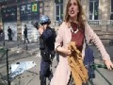 Woman Slammed Into Railing By Police During Toulouse Protests