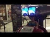Woman Tests Occulus Rift At A Shopping Mall