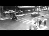 Woman Crossing The Road In Red, Badly Hit By Car