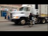 WTF - Guy Does Bicycle Wheelie In Incoming Traffic In N.Y.C