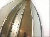 Wanka Skateboarding Down Escalator Wipeout - First Person View