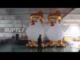 Workers Busy Making Trump Roosters For Chinese New Year