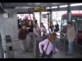 Woman Cuts In. Man Trips Woman