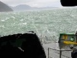 Waves Crash Into Ferry Full Of Cars