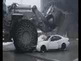Worker Destroys Bosses Car With A Bucket Loader Because He Didn't Get Paid
