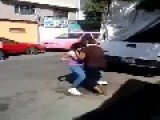 Woman Get Concussion In Street Fight
