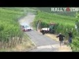 WRC CAR & TRACTOR NEAR MISS