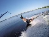 Waterskier Tries To One-Legged Barefoot