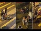 Young Boy Kneels Down And Crosses Road As Dad's Punishment