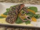 Ginger Flank Steak & Black White Sesame Salmon