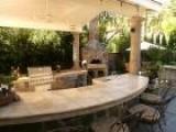Backyard Limestone Kitchen Pavilion