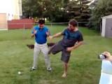 Asian Guy Lets Pro MMA Muay Thai Fighter Kick Him