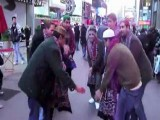 Pakistani Men Dancing On Times Square New York