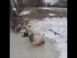 Russian Guy Slips On Ice And Is Knocked Out Cold