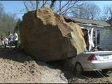 25 Foot Boulder Crushes Car