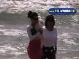 Eva Longoria In Malibu Playing On The Beach