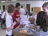 Kids At Davenport School Pack Care Packages For Troops