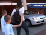 Lucy Lawless And Sons In Beverly Hills