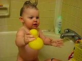 Lily Taking A Bath With Her Ducky