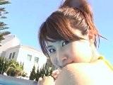 Mai Amano-Yellow Bikini Pool