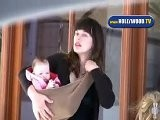 Milla Jovovich With Baby Having Valentines Day Lunch