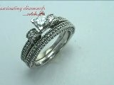 Princess Diamond Petite Bridal Ring Set With Milgrains And The Edges
