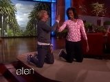 Raw Video: Michelle Vs. Ellen In Pushup Contest