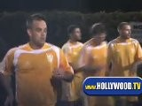 Robbie Williams Playing Soccer In Santa Monica At Cross Road