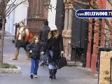 Sarah Jessica Parker Walks The Kid