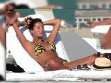 Victoria&#039 S Secret Angel Behati Prinsloo Relaxes In A Tiger Print Bikini In Miami
