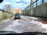 Fruit Juice Flash Flood Flows Through Street In Russia